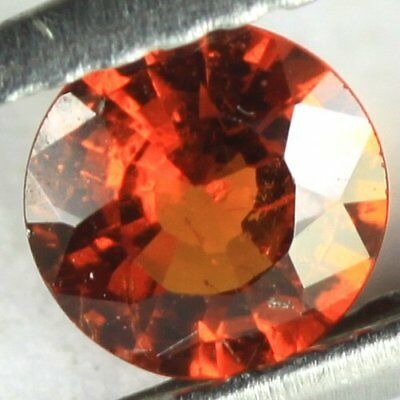 *0.48 cts. 5 x 2.7 mm.UNHEATED NATURAL ORANGE SPESSARTINE GARNET ROUND NIGERIA