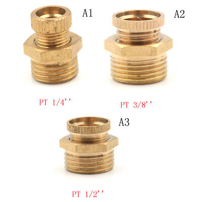 Air Compressor Male Threaded Water Drain Valve Brass Tone PT 1/2'' 3/8'' 1/4''