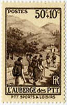 """FRANCE STAMP TIMBRE YVERT N° 347 """" AUBERGE DES PTT 50c+10c """" NEUF xx LUXE"""