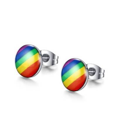 Rainbow Flag LGBT Pride Charm earring stainless steel Weave Plaited gay Jewelry