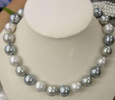 "Beautiful 8mm Elegant white Gray Shell Pearl Necklace 18"" AAA"