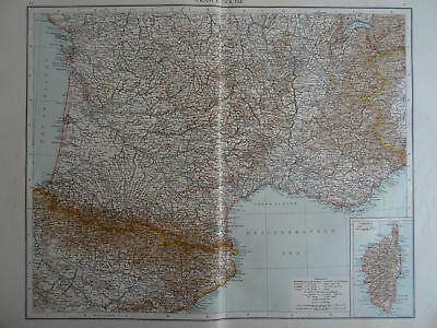 Victorian Map 1896 of SOUTHERN FRANCE & CORSICA The Time Atlas 1st Gen
