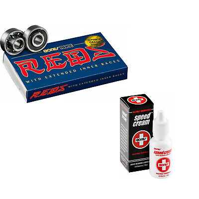 BONES RACE REDS Skateboard Bearings 8-Pack 8mm with Speed Cream Lubricant
