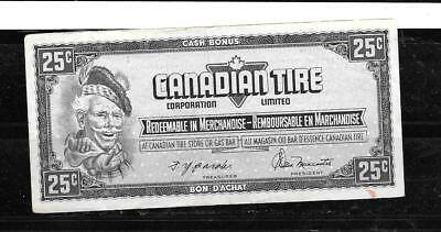 Canada Canadian 1974 25 Cent Vf Circ Tire Money Currency Banknote Bill Note