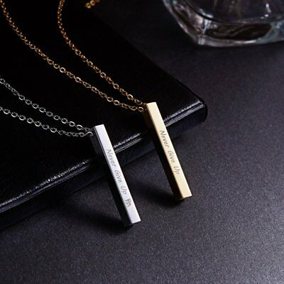 Never Give UP Personalized Engraved Stainless Steel Custom Name Pendant Necklace