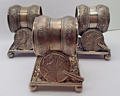Set of 3 Antique Rogers / Meridan Figural Napkin Rings w/ Fan & Butterfly #208