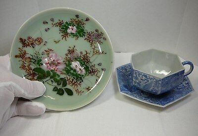 Vtg Lot Chinese Celadon Plate & Marked Japanese Porcelain Blue/White Cup Saucer