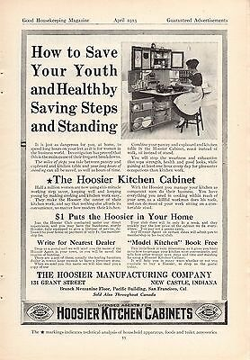 1913 Hoosier Kitchen Cabinet Ad-Save Your Youth & Health