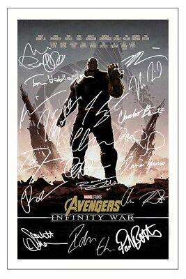 Avengers Infinity War Cast Signed Photo Print Autograph Poster