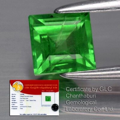 0.64ct 4.6mm Square Natural Green Tsavorite Garnet, Tanzania *Free GLC Certified