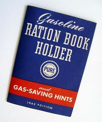 Near Mint Original1943 Wwii Home Front Pure Gasoline & Oil Ration Book Holder