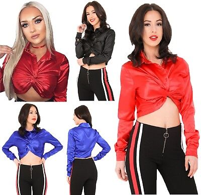 Satin Twist Front Crop Top Shirt Wetlook Cropped Tshirt Festive Sexy Long Sleeve