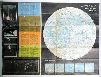 ESZ4377. Vintage: OFFICIAL MAP OF THE MOON/Modern Map of Space Rand McNally 1958