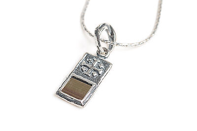 """Sterling Silver 925 Rectangular Delicate Cross with Nano Bible Pendant 23"""" Chain"""