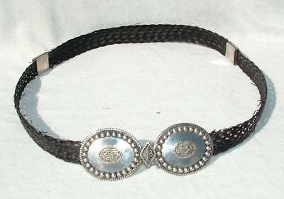 Colonial Indian Silver Mounted Belt Woven From Elephant Hair 1880 - 1910