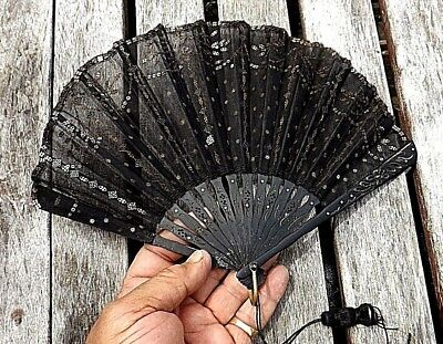 NICE ANTIQUE BEADED SPANISH LACE HAND FAN CARVED WOOD SPINES LATE 1800s