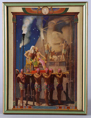 Rare N C Wyeth Mazda GE Lamps 1934 Framed Calendar Top The Carvers Of The Sphinx