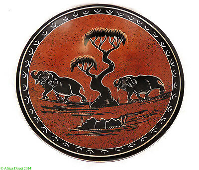 Stone Bowl Hand Painted Cape Buffalo Kisii Kenya African  SALE WAS $15