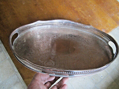Old Antique Georgian Sheffield Style Butlers Large Silver Plate on Copper c1905