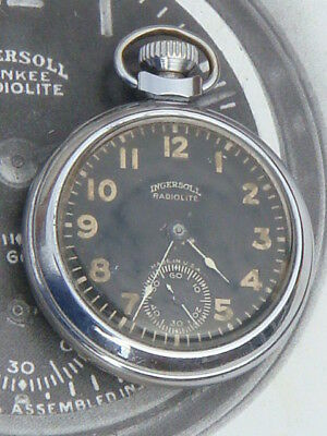 Vintage WW1 Ingersoll Radiolite USA pocket Tank watch Military collector grade
