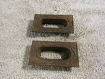 Antique Eastlake Victorian Decorative Window Drawer Pull Handle Set 2
