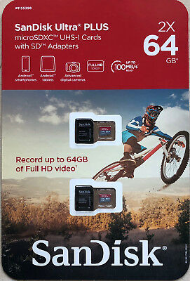 2 Pack SanDisk Ultra Plus 64GB Micro SD Cards with Adapters MicroSDXC UHS-I