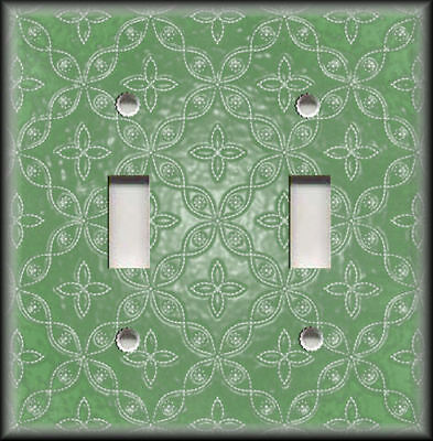 Metal Light Switch Plate Cover - Green Pattern Home Decor Switchplates Outlets