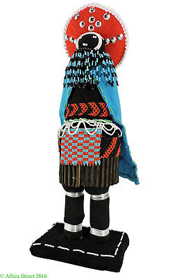 Zulu Beaded Doll with Studded Skirt South African Art SALE WAS $175.00