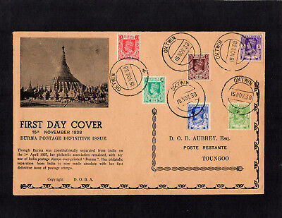 Burma 1938 Kg Vi - New Definitives - First Day Cover - With Oktwin & Toungoo Cds