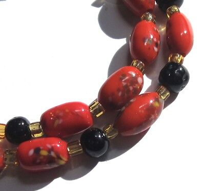 16 Beautiful Old Small Fire Red Oval Japanese Millefiori Vintage Glass Beads