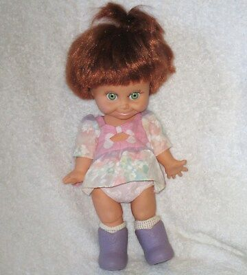 "1990 Galoob Baby Face Doll 13"" Hard to Find Red Hair Green Eyes *So Shy Sherri*"