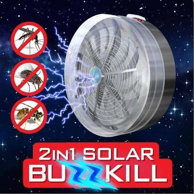 Solar Powered Buzz UV Lamp Light Fly Insect Bug Mosquito Kill Zapper Killer PC