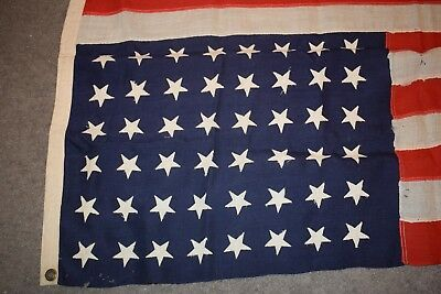 VINTAGE Distressed 48 Star American Flag 5 1/2' All Wool Flag WWII