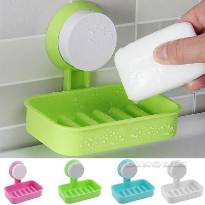 Plastic Suction Cup Soap Dish Bathroom Wall Mounted Holder Toilet Shower Tray