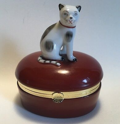 "Fitz & Floyd Hinged Porcelain Trinket Box 4"" 1985 White Cat Spots Striped Tail"