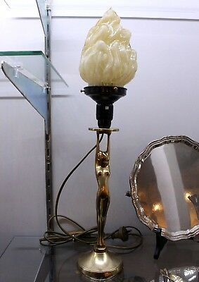 Deco Diana Nude Lady Lamp With Original Flame Shade. Re-Wired.