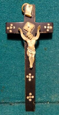 Antique 19th Cent HANDCARVED CATTLE BONE CHRIST & HORN CROSS 5""