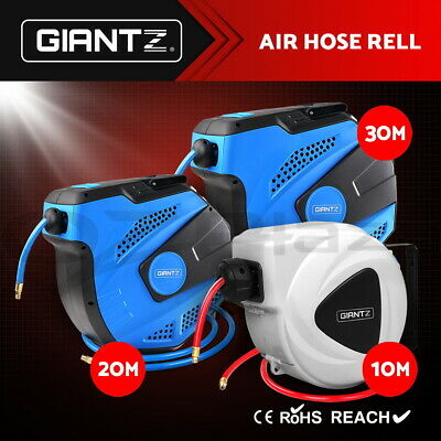 GIANTZ 10M/ 20M/ 30M Retractable Garden Air Hose Reel Auto Rewind Wall Mounted