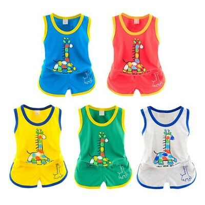 2pcs Toddler Baby Kid Summer Outfit Boy Girl Vest Shirt Tops + Pants Shorts Set