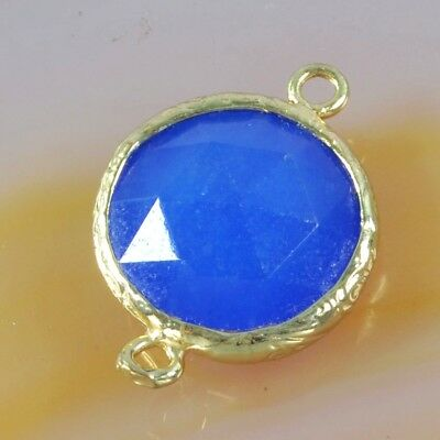 16mm Blue Chalcedony Faceted Bezel Connector Gold Plated H114946