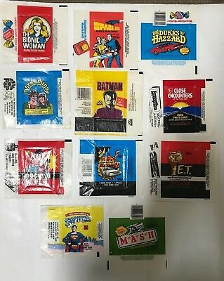 T.v Shows Lot Of 11 Trading Card Wax Wrappers Inc: Batman, Mash, Rocky Etc