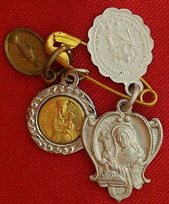 LOT OF 4 VINTAGE RELIGIOUS MINI MEDALS Jesus Mary Miraculous Medals Saint Rita