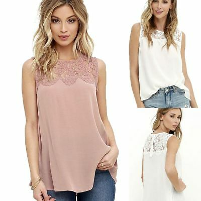 Mode Frauen Sommer Spitze Weste Top Sleeveless Bluse Casual Tank Tops T-Shirt