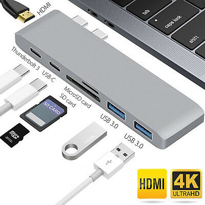 7in1 USB-C Hub Dual Type-C Multiport Card Reader Adapter 4K HDMI For MacBook Pro