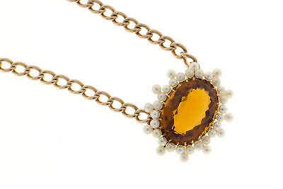 Vintage Victorian 1900 14k Pink Gold 11.00ct Orange Yellow Citrine Pearl Pendant