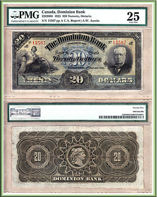 Tied 2nd Finest PMG Certified 1925 $20 Dominion Bank 220-20-08. Original VF25