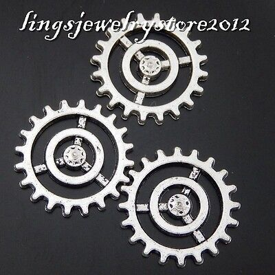 Vintage Silver Alloy Gear Wheel Shape Charms Pendants Finding Crafts 40pcs 50480