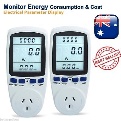 2X AU Plug Power Meter Watt Voltage Energy Consumption Electricity Monitor LCD E