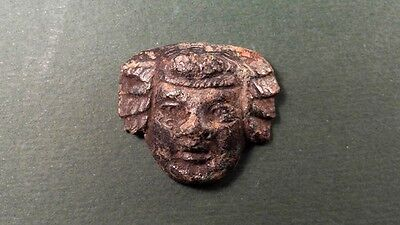 Ancient Bronze Mask Of Dionysus  God Of Wine Roman 100-300 Ad