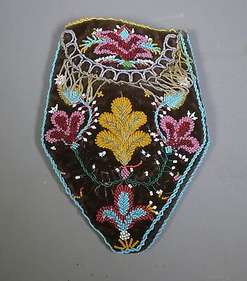 Rare Native American Iroquois Wabanaki Indian Bead Work Bag Niagara C.1850